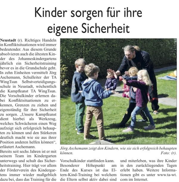 Zeitungsbericht Sicherheitstraining Neustädter Zeitung Neustadt 20.05.2015